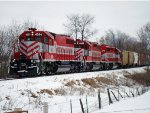 WSOR 4054 with yet another HJ tied down in the snow east of town